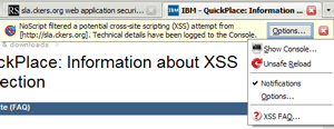 NoScript XSS notification and its menu